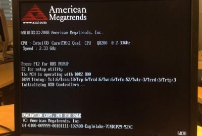 Dell Vostro 420 BIOS shows 'EVALUATION COPY, NOT FOR SALE'