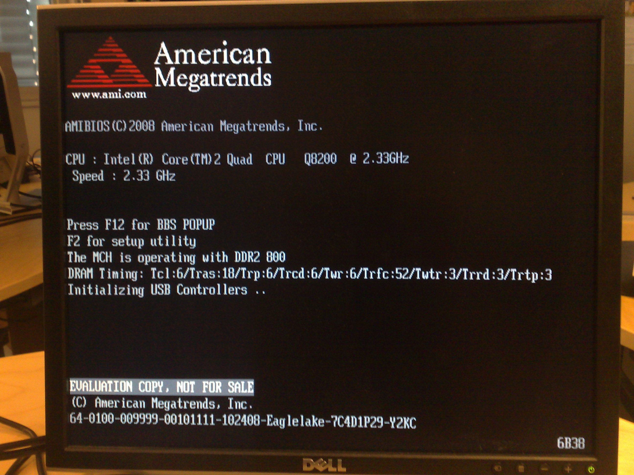 Dell Vostro 420 BIOS shows 'EVALUATION COPY, NOT FOR SALE'