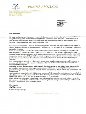 Inheritance scam letter in the postal mail