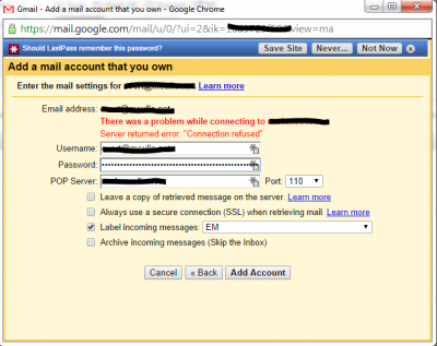 Gmail Mail Fetcher – if only it worked…
