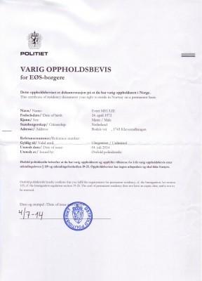 Varig oppholdsbevis / Permanent residence permit!