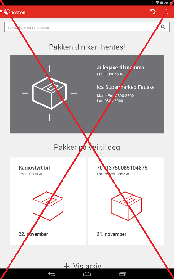 Posten Sporing app - screenshot
