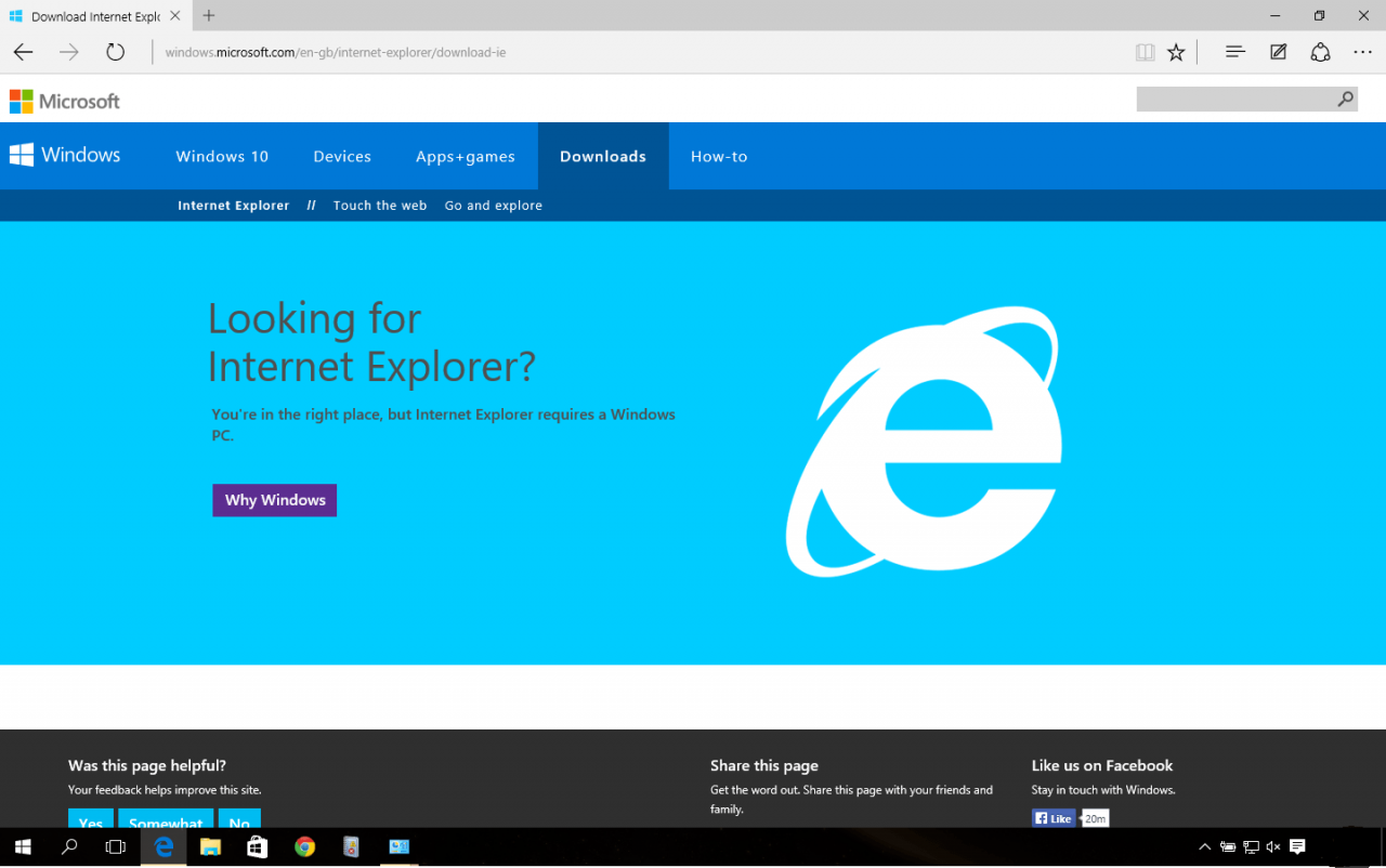 IE on Windows 10