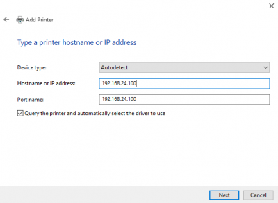 Add printer by IP address in Windows 10