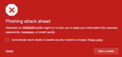 Phishing warming displayed by Chrome