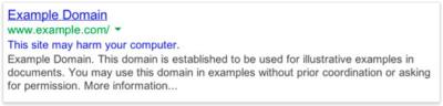 Google malware warning